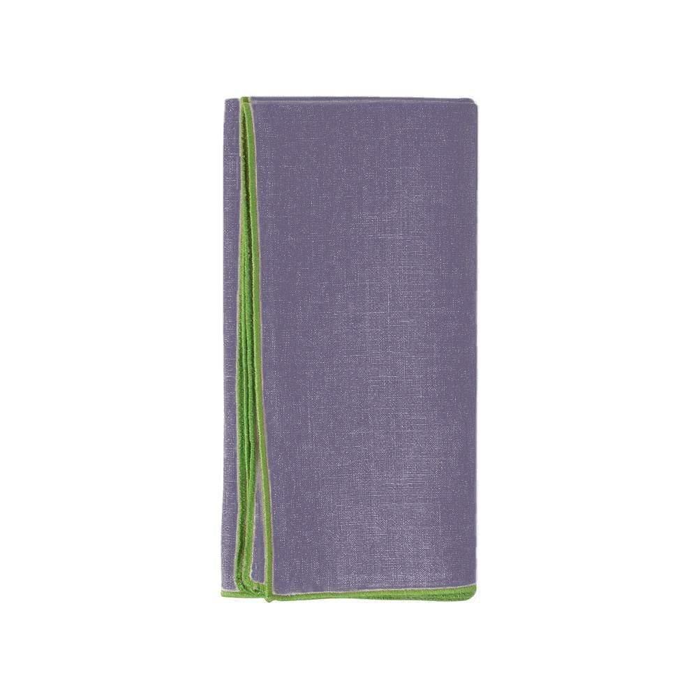 Deborah Rhodes Contrast Edge Linen Dinner Napkin in Prune - 1 Each
