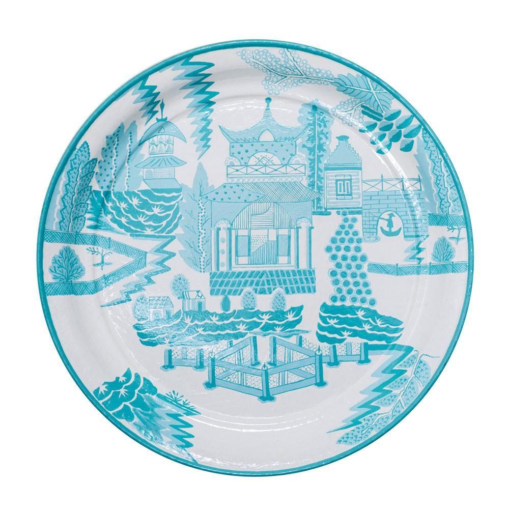 Habitat Intl Teal Pagoda Hand-Painted Iron Tole Tray & Tabletop