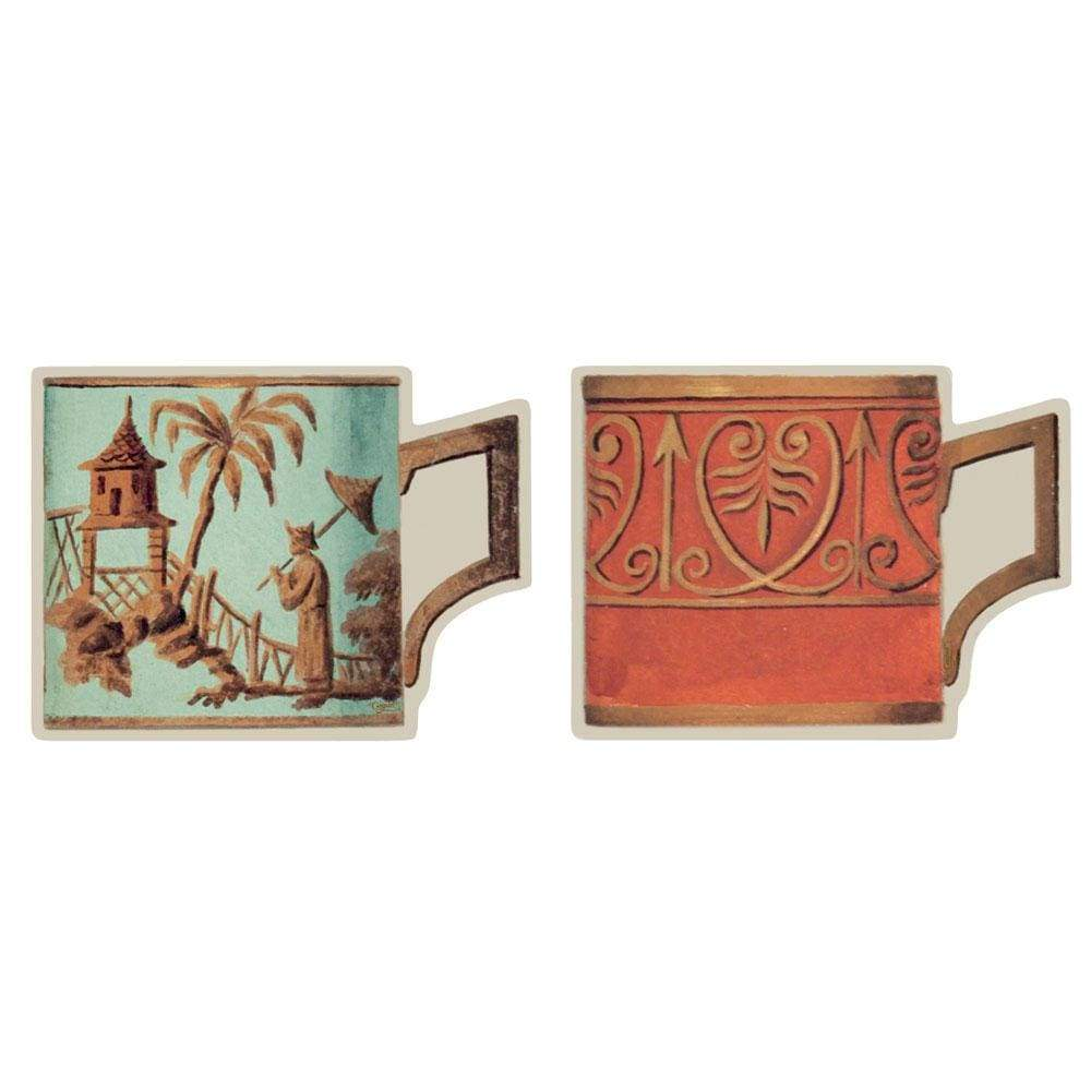 Caspari Salon de Thé Die-Cut Coasters in Celadon & Orange - 4 Per Package