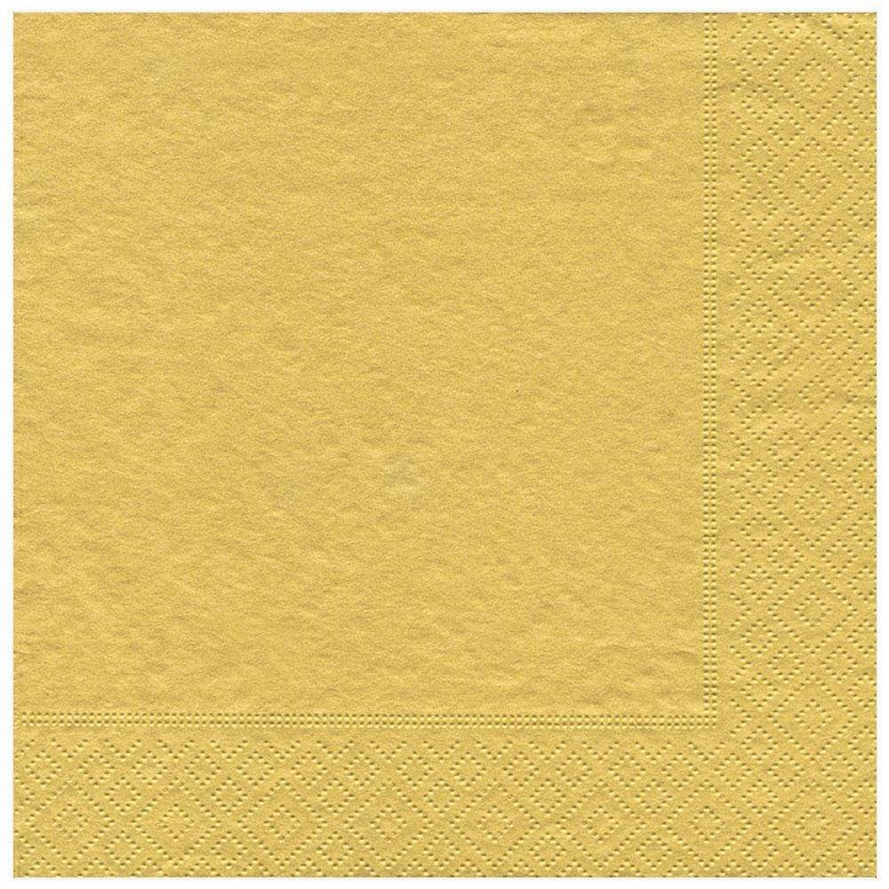 Caspari Solid Paper Dinner Napkins in Gold - 20 Per Package