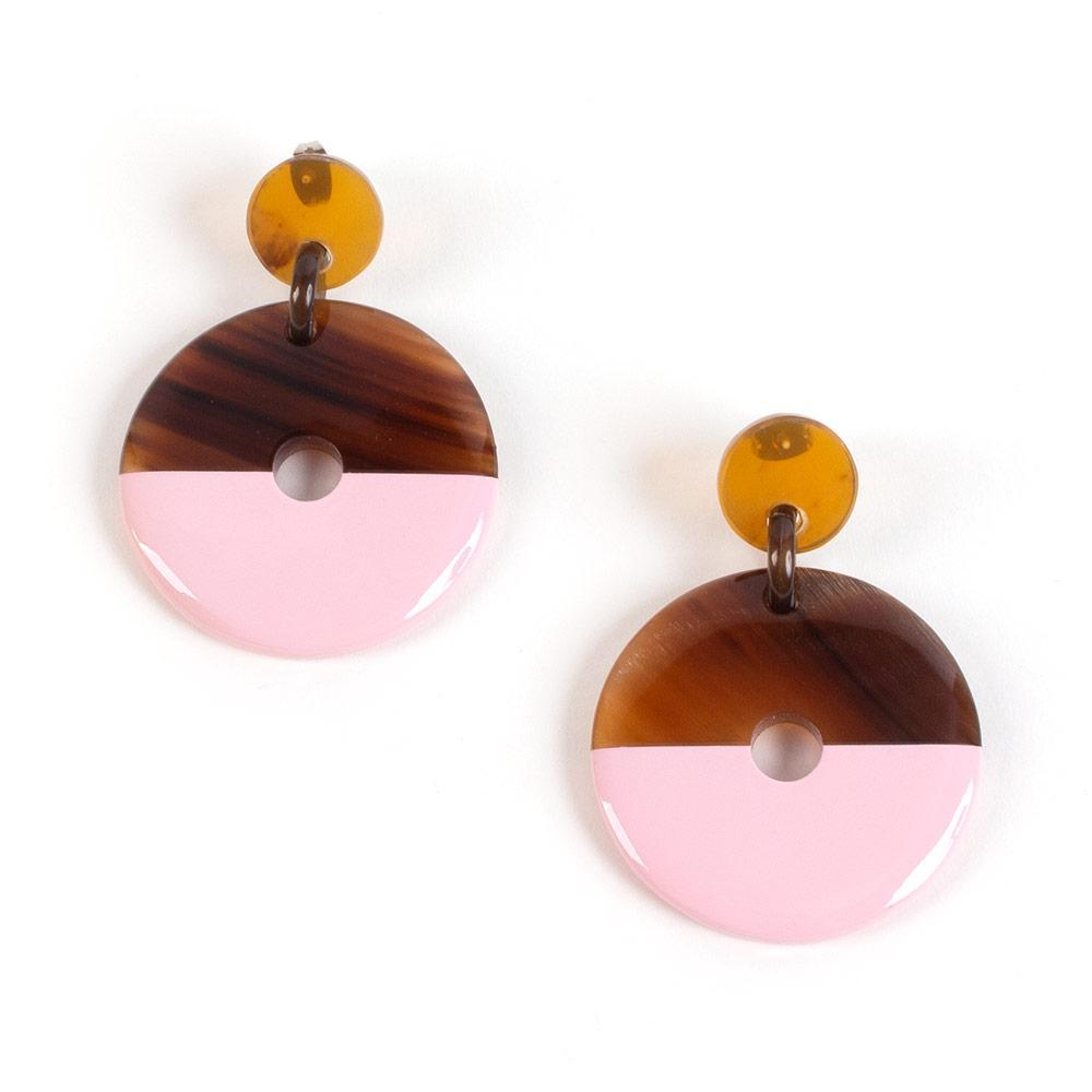 Caspari Horn & Lacquer Disc Earrings in Pink - 1 Pair