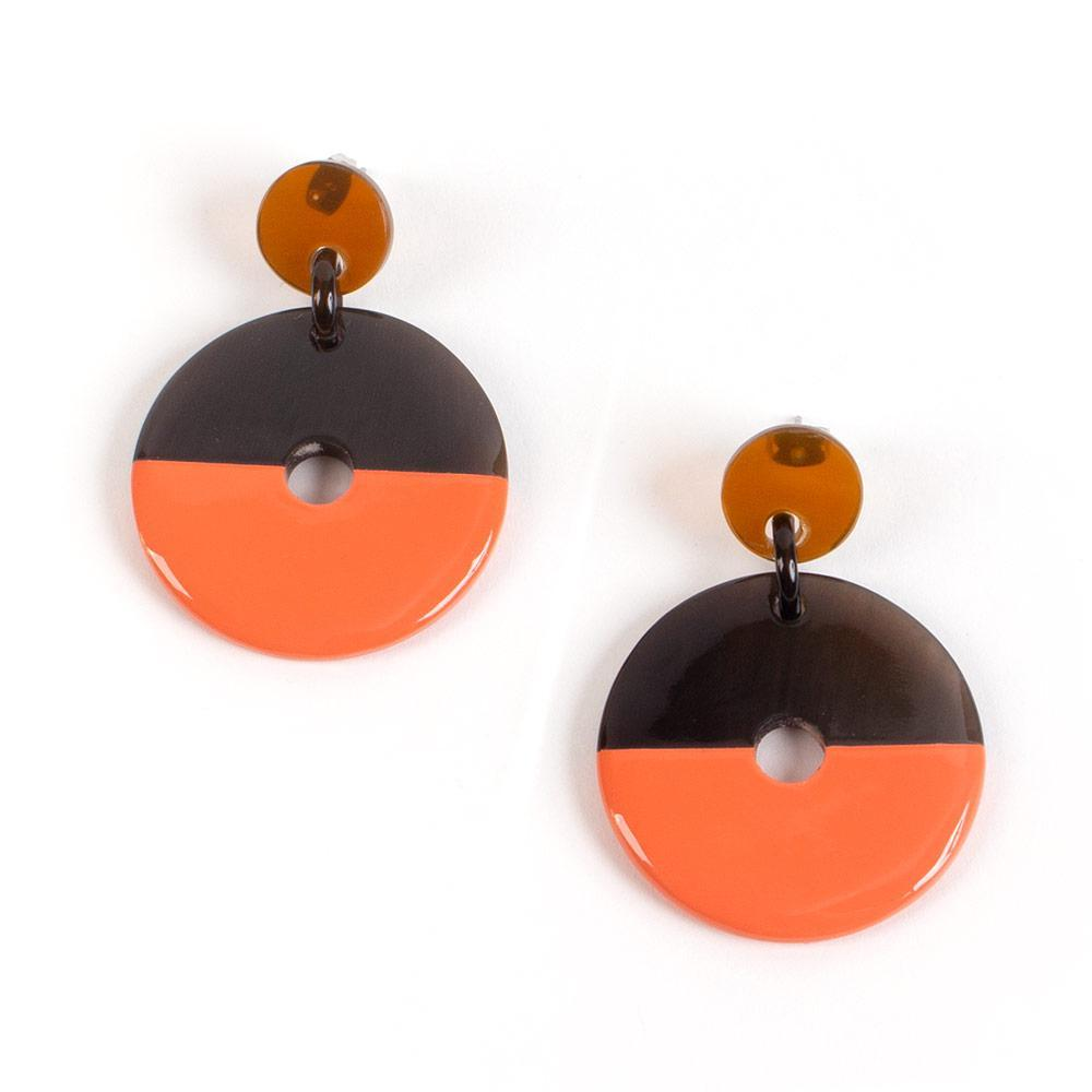 Caspari Horn & Lacquer Disc Earrings in Coral - 1 Pair