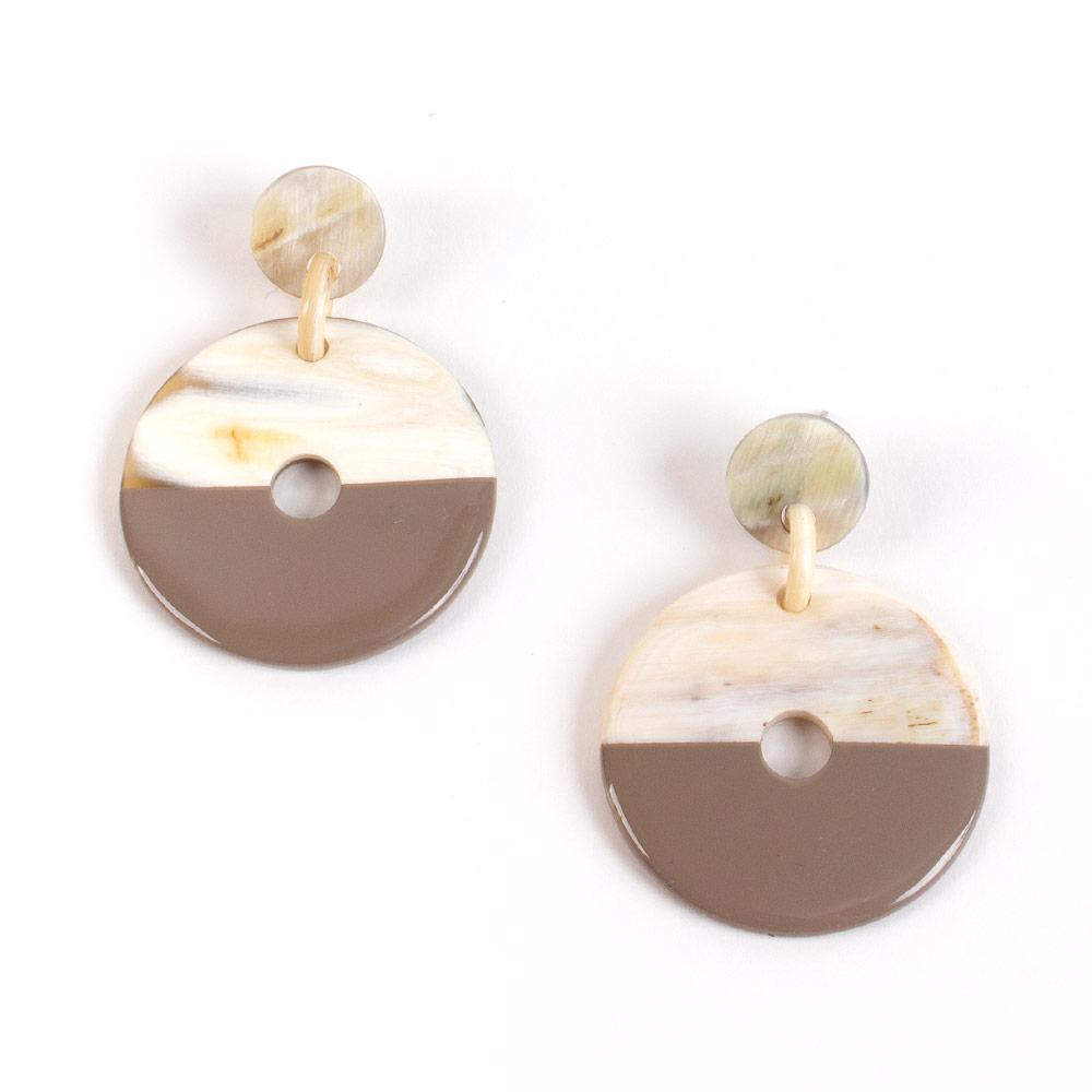 Caspari Horn & Lacquer Disc Earrings in Taupe - 1 Pair