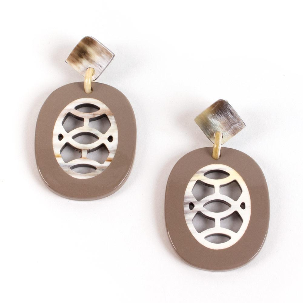 Caspari Horn & Lacquer Medallion Earrings in Taupe - 1 Pair