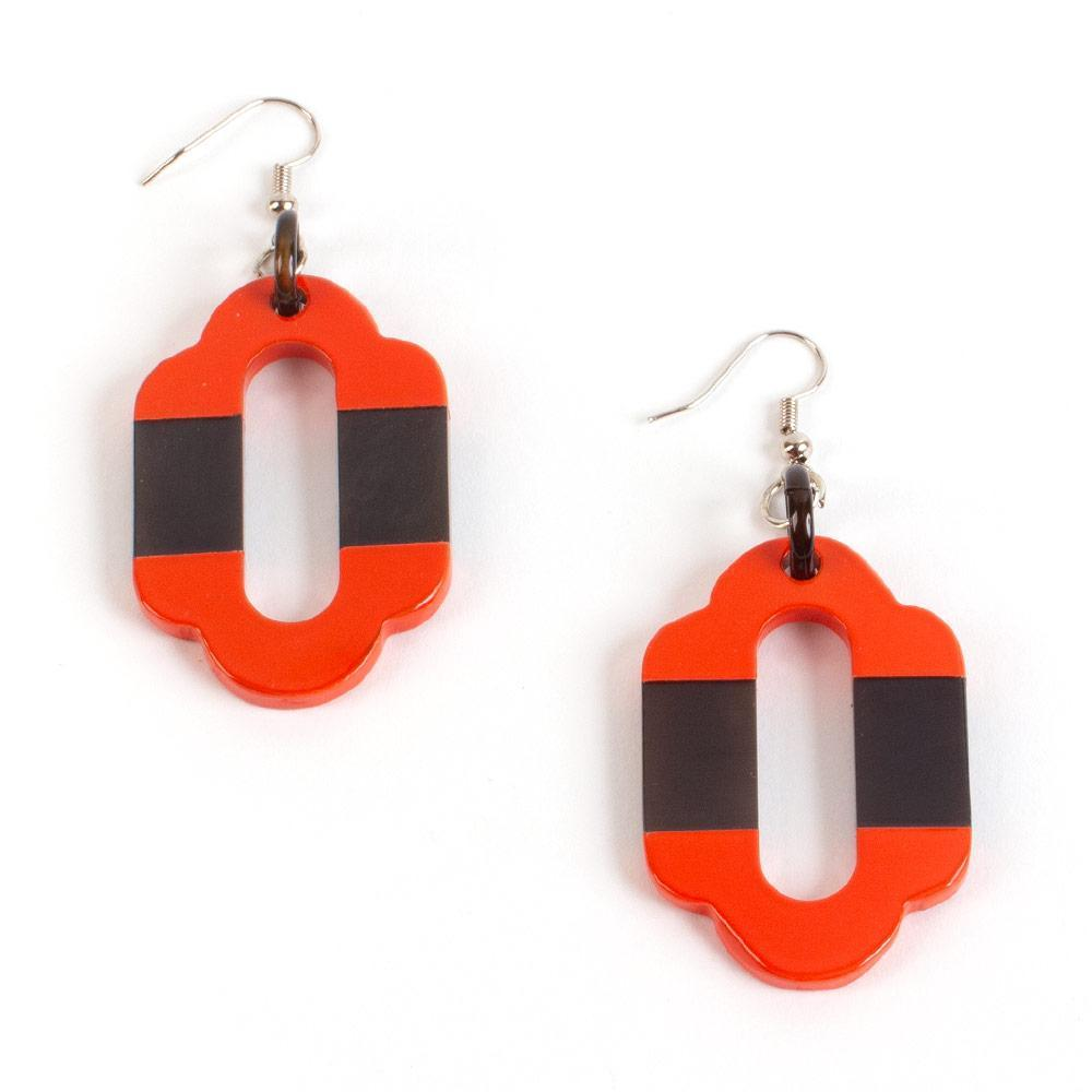 Caspari Horn & Lacquer Arabesque Earrings in Orange - 1 Pair