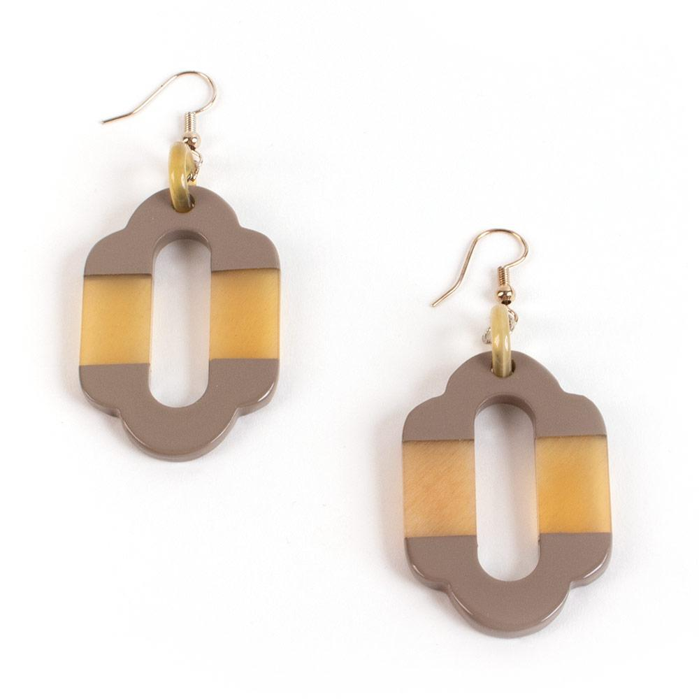 Caspari Horn & Lacquer Arabesque Earrings in Taupe - 1 Pair