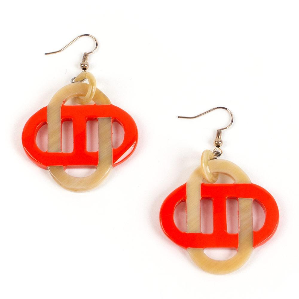 Caspari Horn & Lacquer Quatrefoil Earrings in Orange - 1 Pair