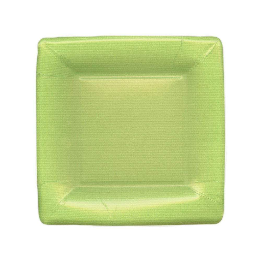 Caspari Grosgrain Square Paper Salad & Dessert Plates in Green - 8 Per Package