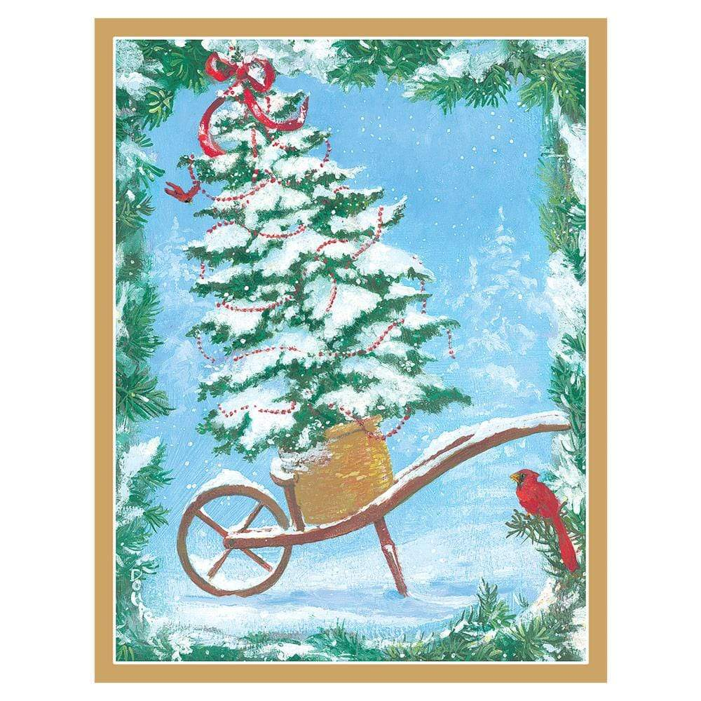 Caspari Tree in Cart Boxed Christmas Cards - 16 Cards & 16 Envelopes