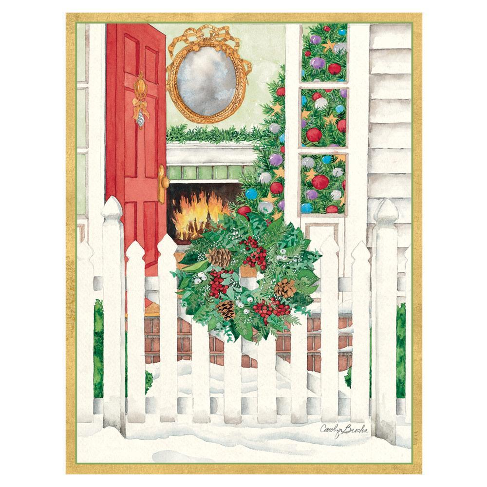Caspari Open Door & Wreath on Gate Large Boxed Christmas Cards - 16 Cards & 16 Envelopes