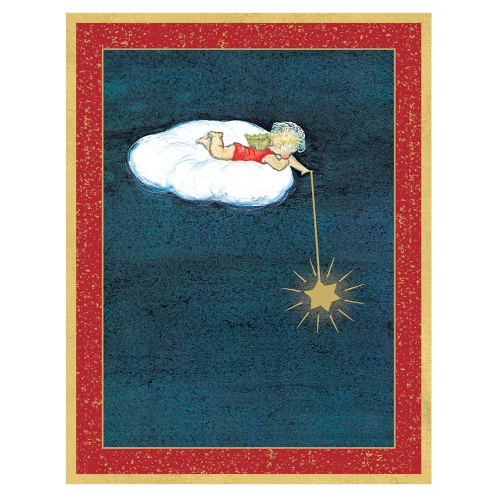 Caspari Angel Lying on a Cloud with Star Large Boxed Christmas Cards - 16 Cards & 16 Envelopes
