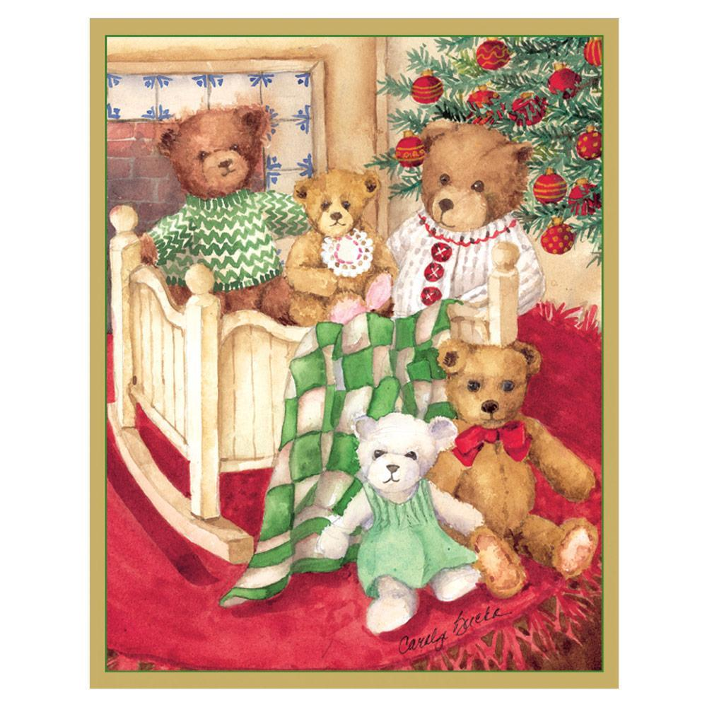 Caspari Bears Under Tree Mini Boxed Christmas Cards - 16 Cards & 16 Envelopes