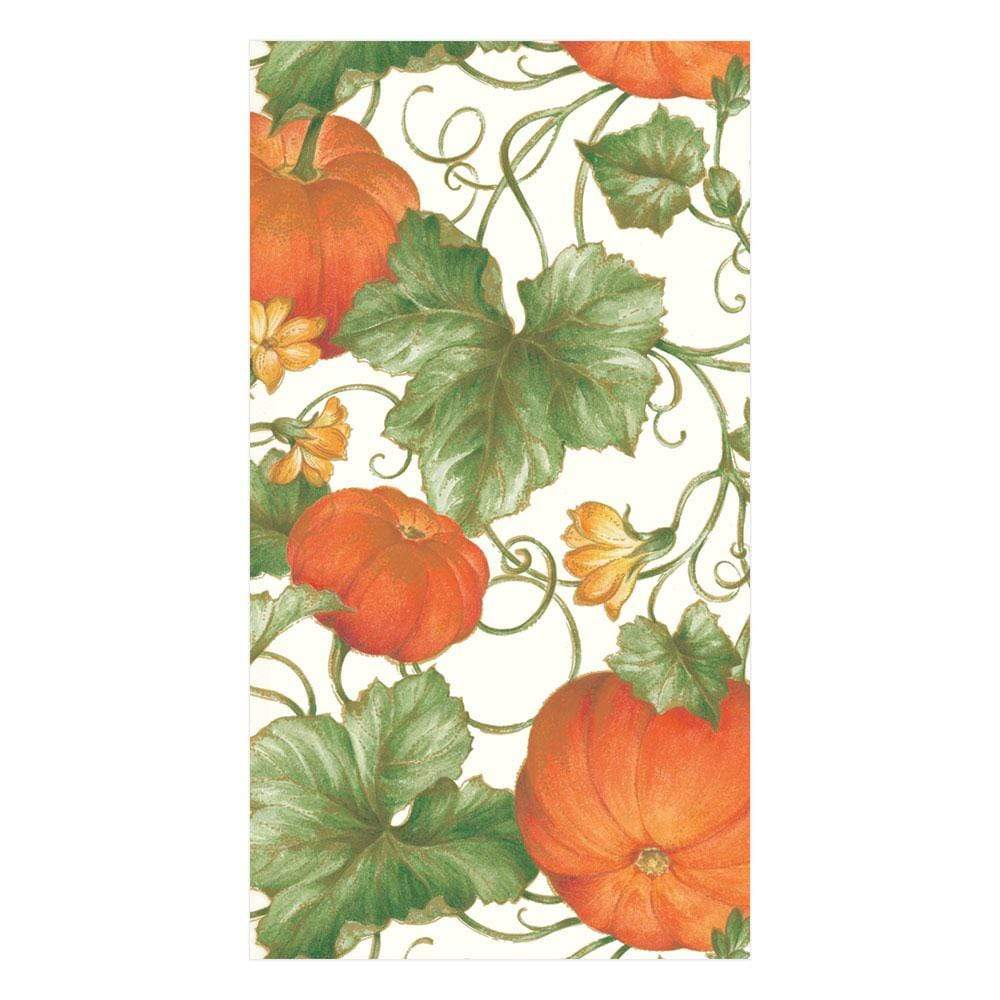 Caspari Pumpkins Paper Guest Towel Napkins in Ivory - 15 Per Package