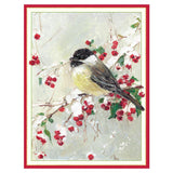 Caspari Bird on Snowy Berry Branch Boxed Christmas Cards - 16 Cards & 16 Envelopes