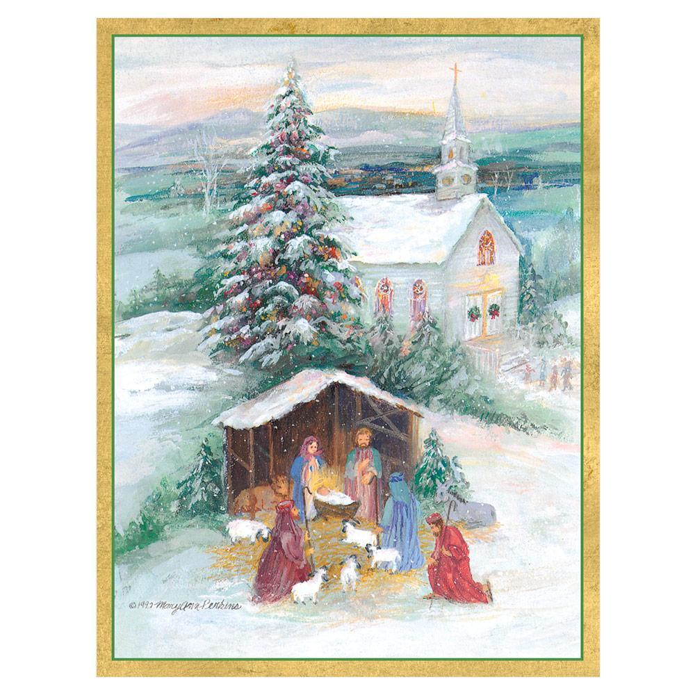 Caspari Creche with Church Boxed Christmas Cards - 16 Cards & 16 Envelopes