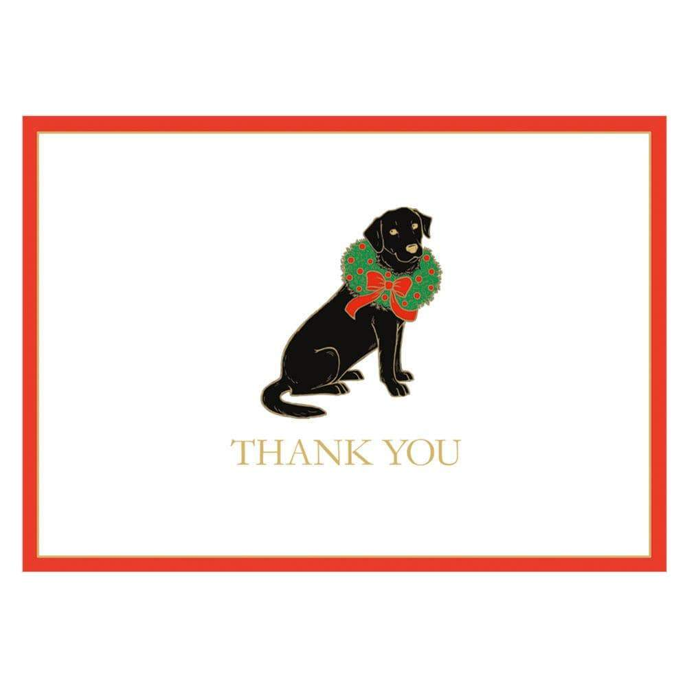 Caspari Christmas Lab Thank You Notes - 8  Note Cards & 8 Envelopes
