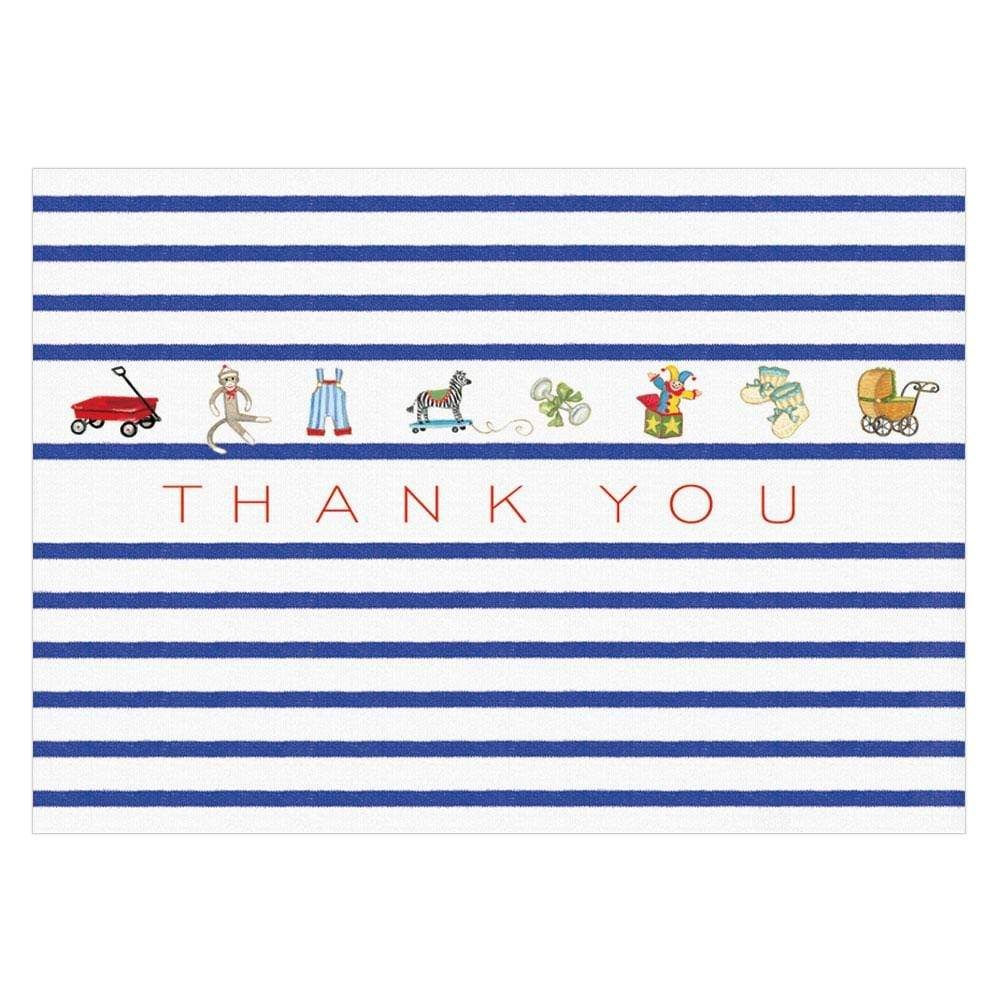 Caspari Bébé Boxed Thank You Notes in Blue - 8  Note Cards & 8 Envelopes