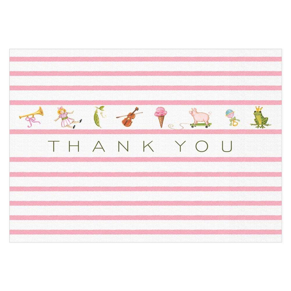 Caspari Bébé Boxed Thank You Notes in Pink - 8  Note Cards & 8 Envelopes