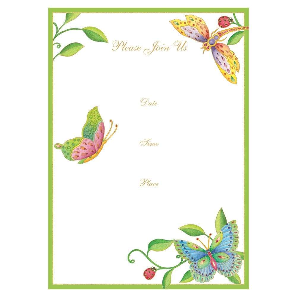 Caspari Parvaneh's Garden Invitations - 8 Fill-In Invitations & 8 Envelopes