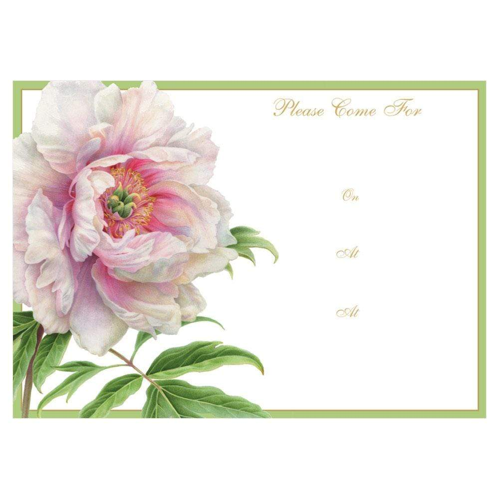 Caspari White Peony Invitations - 8 Fill-In Invitations & 8 Envelopes
