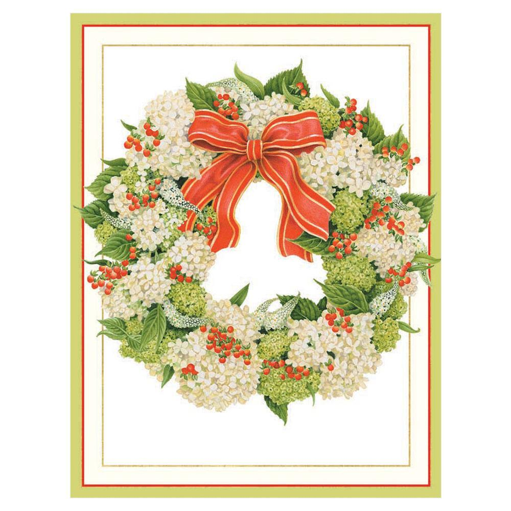 Caspari Hydrangea Wreath Boxed Christmas Cards - 16 Cards & 16 Envelopes