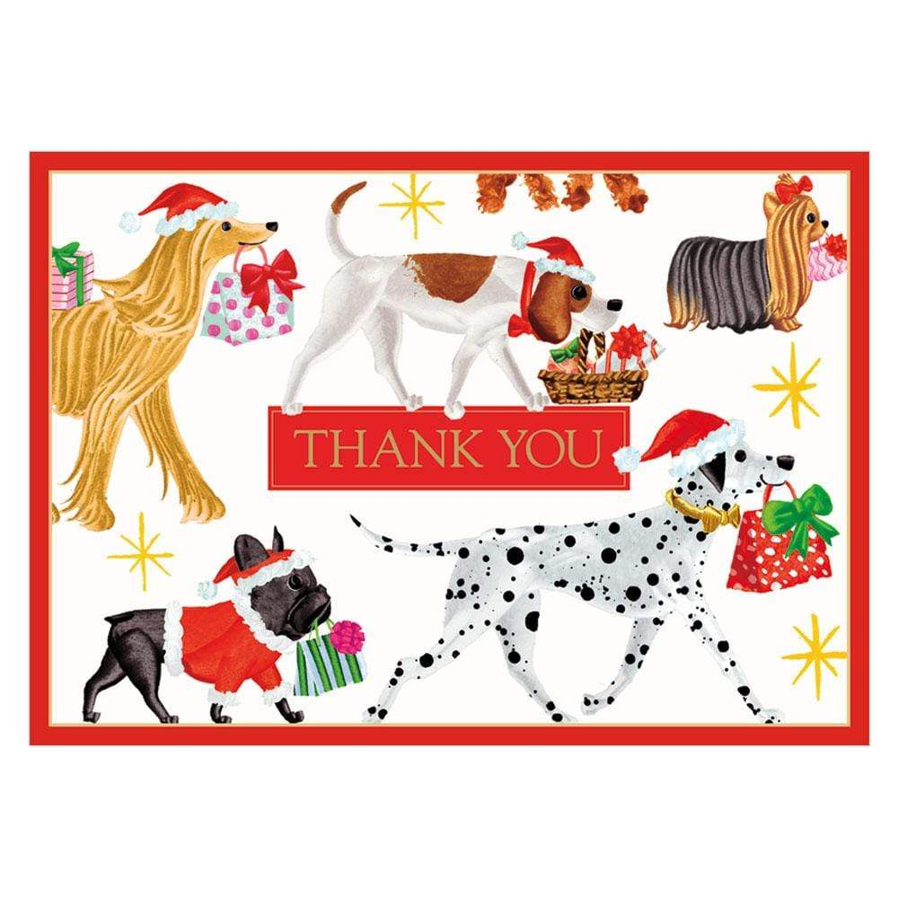 Caspari Christmas Delivery Thank You Notes - 8  Note Cards & 8 Envelopes