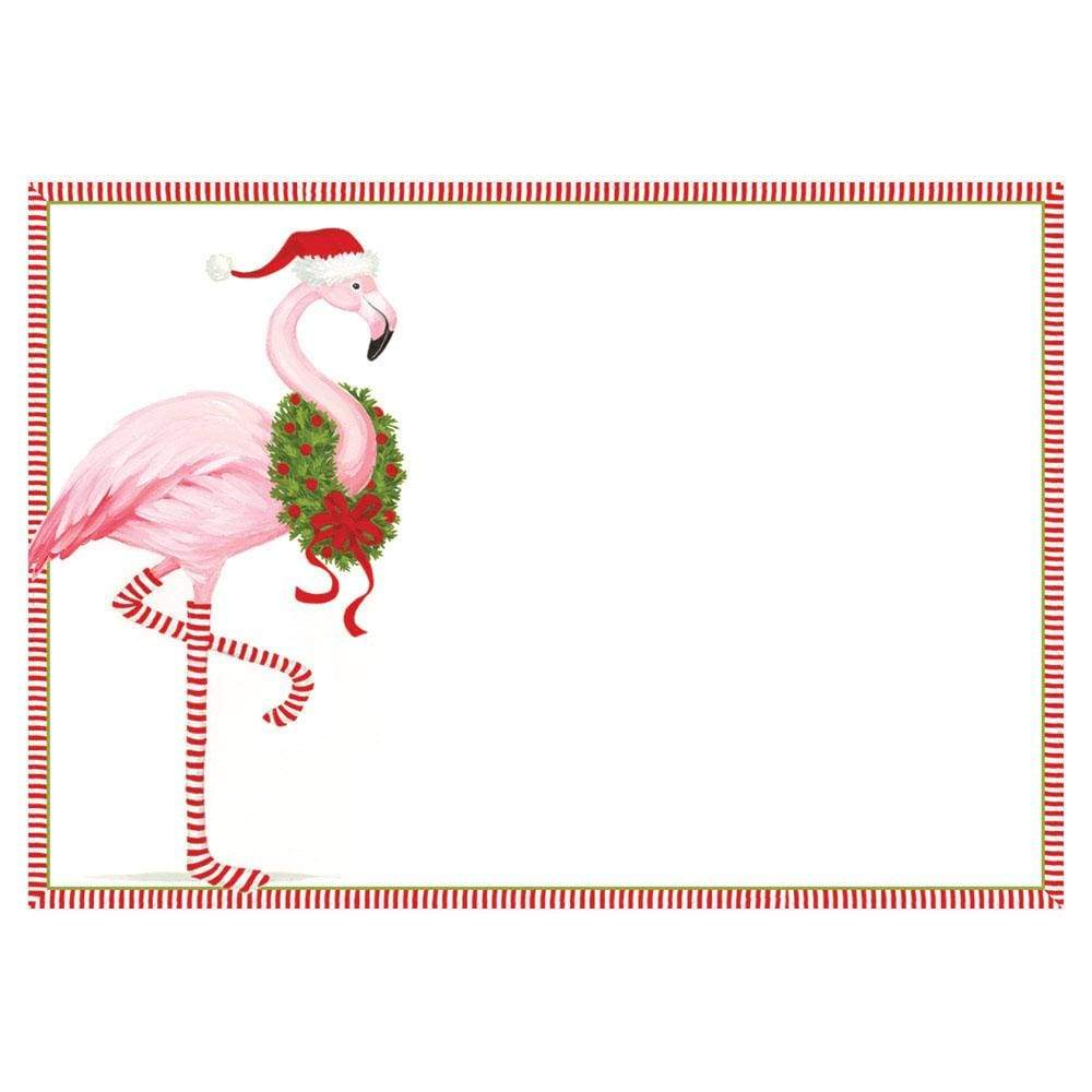 Caspari Christmas Flamingo Invitations - 8 Blank Invitations & 8 Envelopes