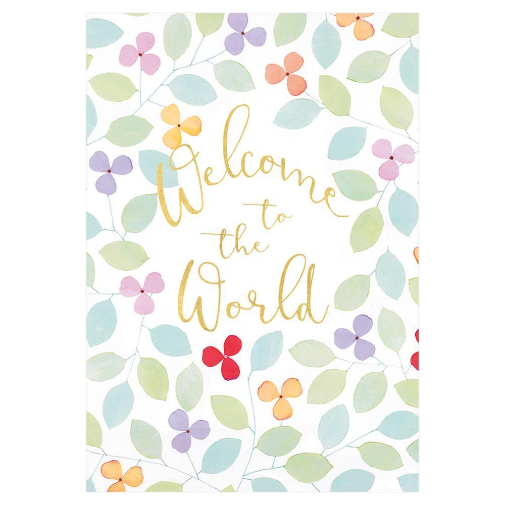 Caspari Welcome to The World Foil Baby Greeting Card - 1 Card & 1 Envelope