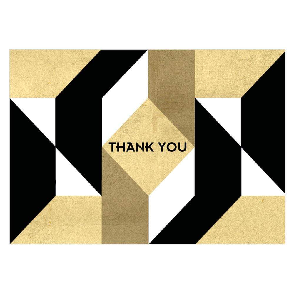Caspari Color Theory Boxed Thank You Notes in Black - 8  Note Cards & 8 Envelopes