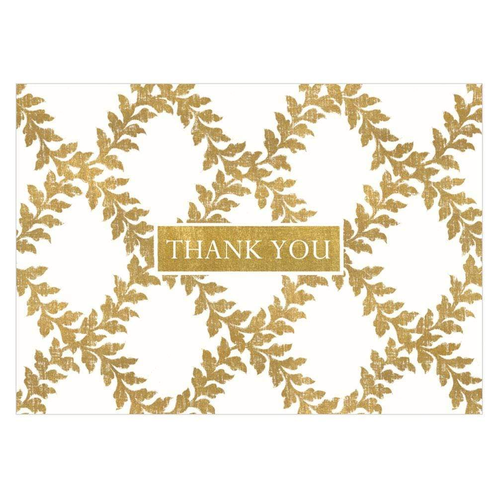Caspari Acanthus Trellis Thank You Notes in Ivory - 8  Note Cards & 8 Envelopes