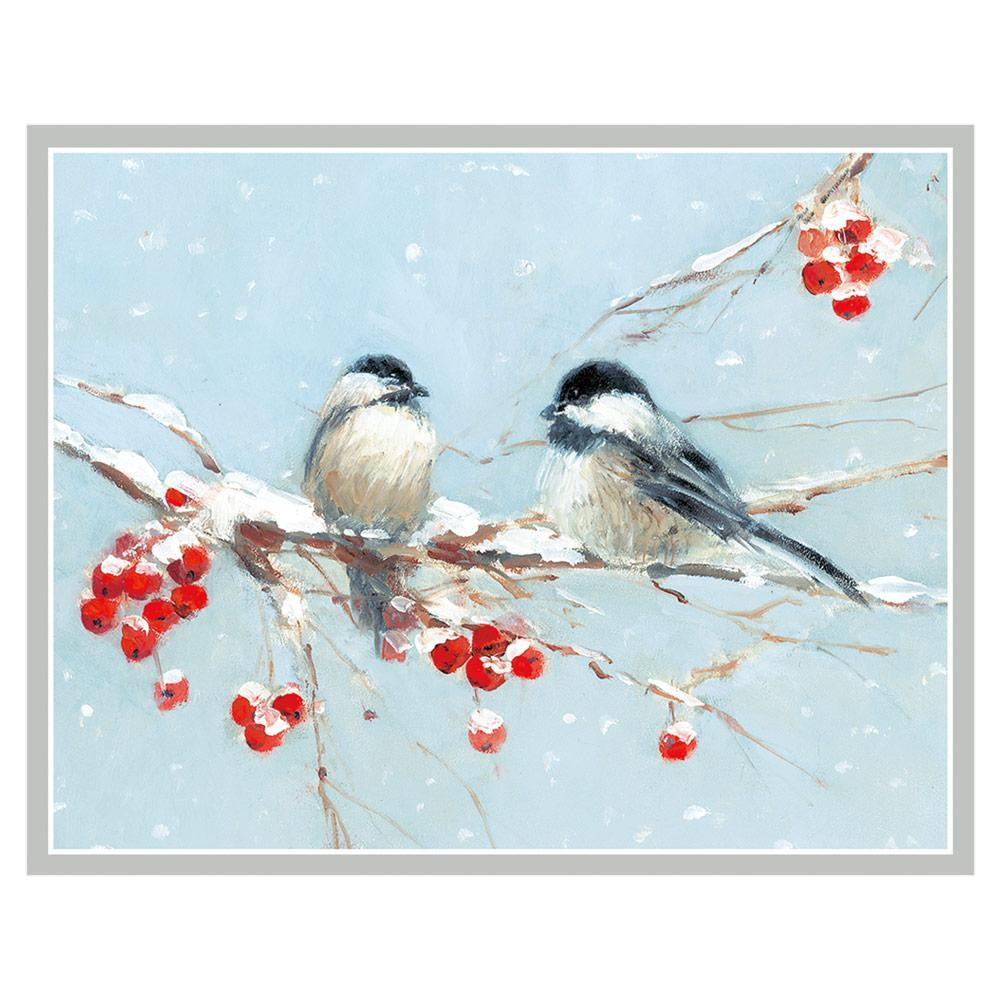 Caspari Birds on Branch Mini Boxed Christmas Cards - 16 Cards & 16 Envelopes