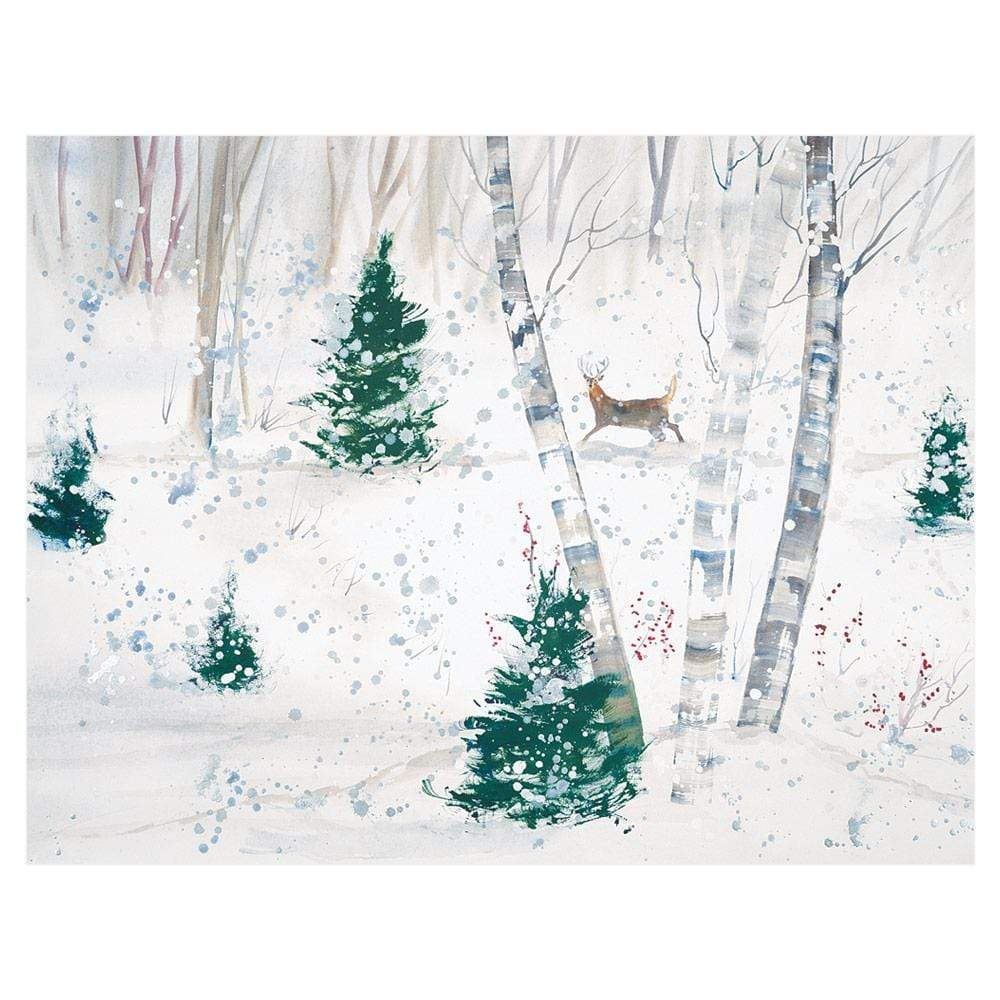 Caspari Deer in Snowy Forest Boxed Christmas Cards - 16 Cards & 16 Envelopes
