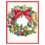 Caspari Ornament Wreath Boxed Christmas Cards - 16 Cards & 16 Envelopes