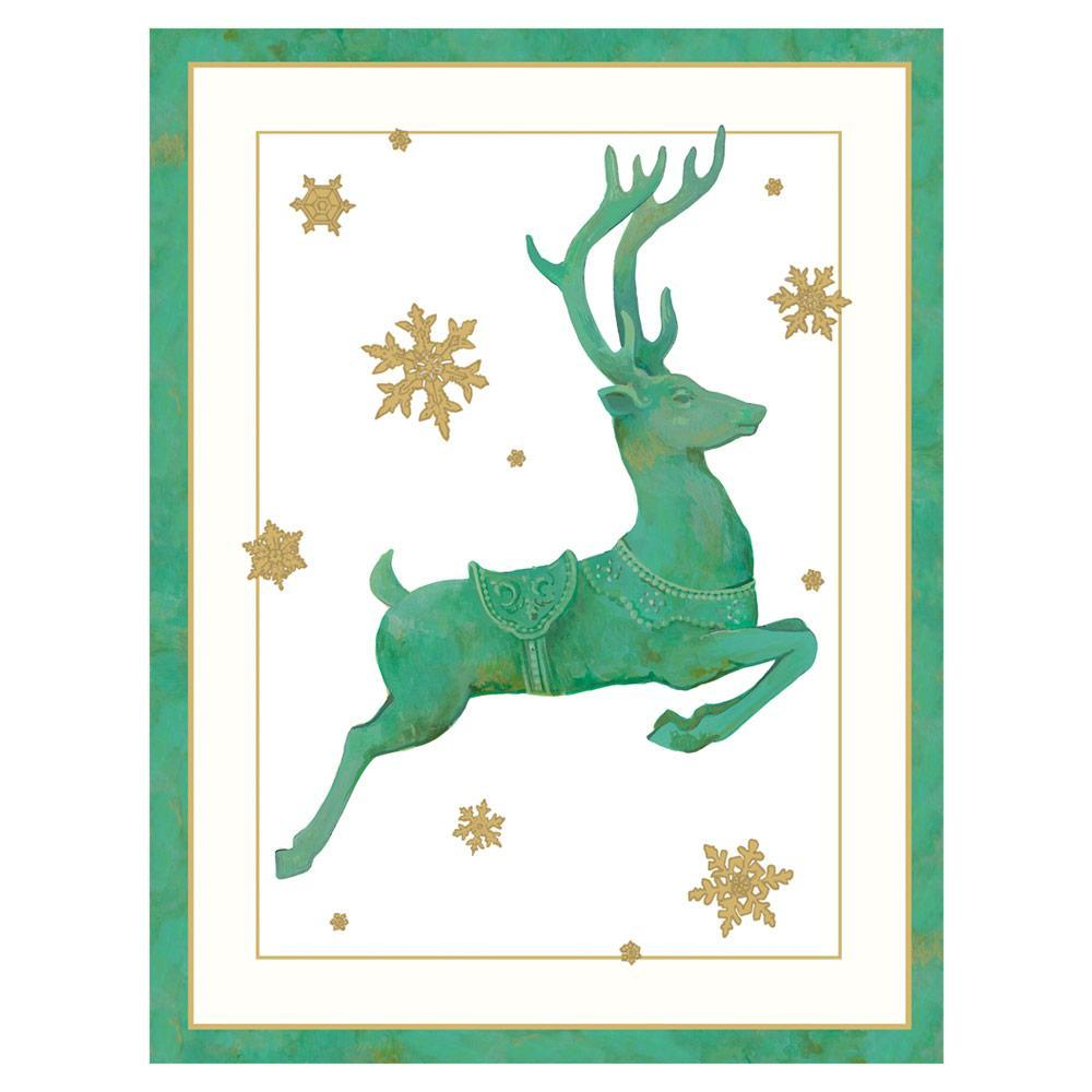 Caspari Leaping Reindeer Boxed Christmas Cards - 16 Cards & 16 Envelopes