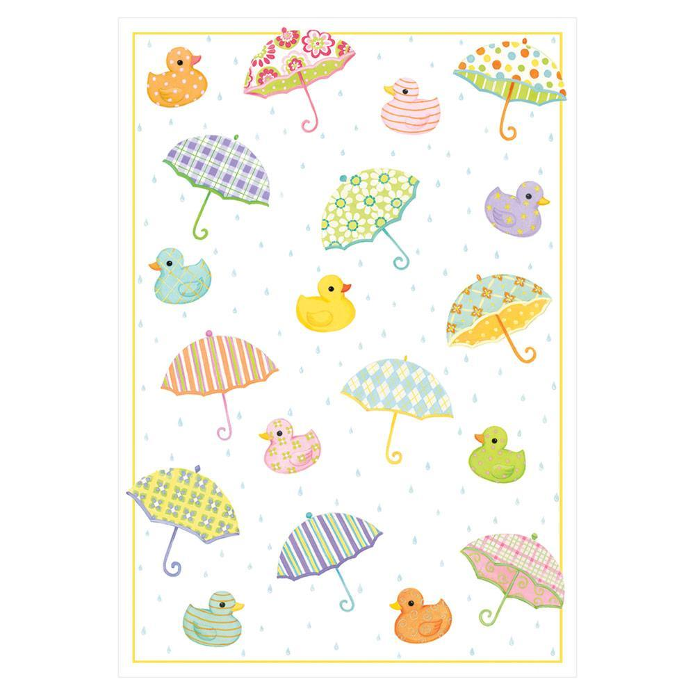 Caspari Duckies and Umbrellas Baby Greeting Card - 1 Card & 1 Envelope