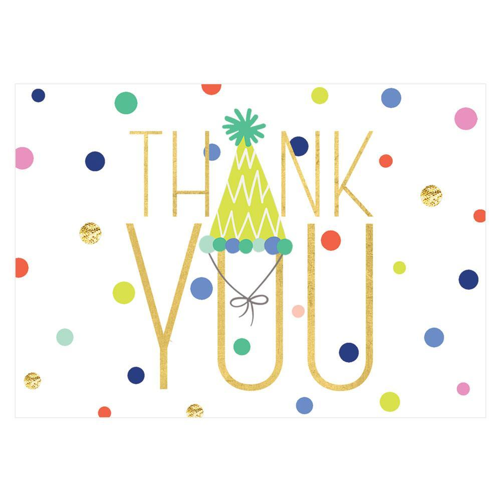 Caspari Party Hats Thank You Notes - 8 Note Cards & 8 Envelopes