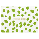 Spots Thank You Notes in Green - 8 Note Cards & 8 Envelopes