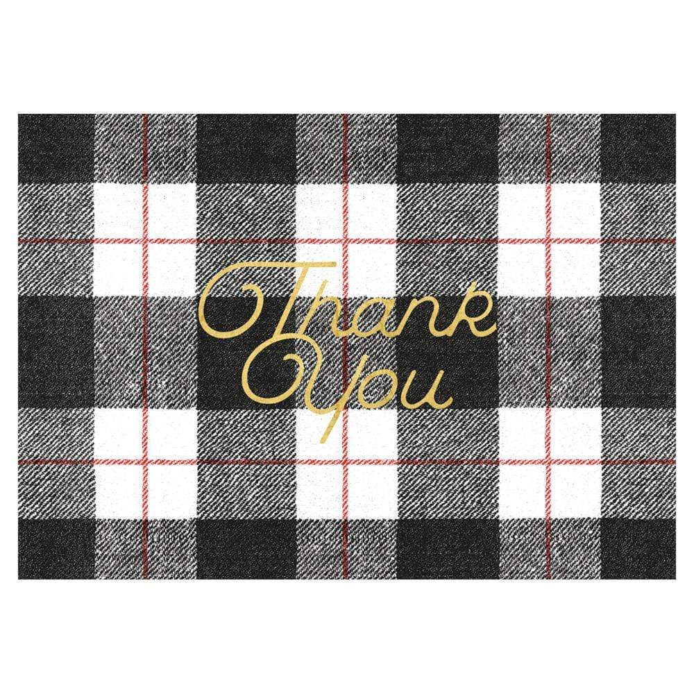 Caspari Plaid Check Thank You Notes in Foil - 8 Note Cards & 8 Envelopes