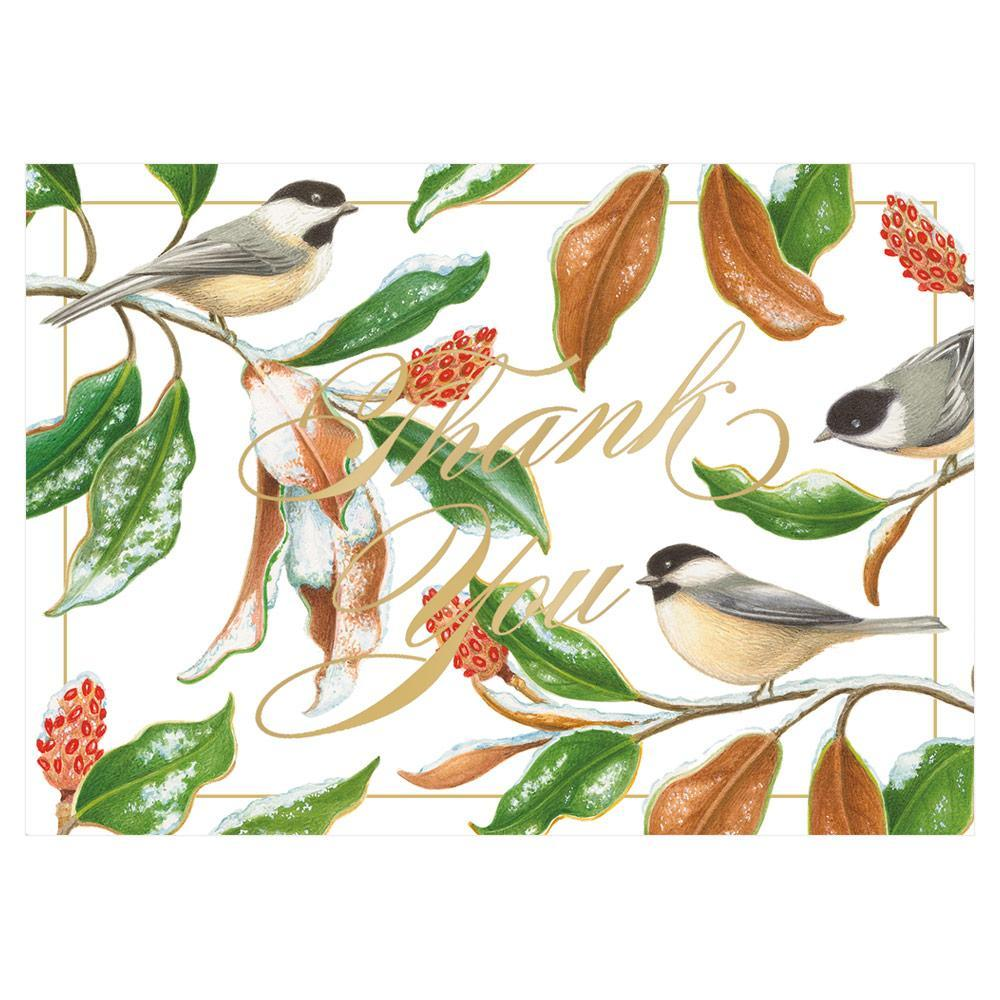 Caspari Chickadee and Magnolia Thank You Notes in Foil - 8 Note Cards & 8 Envelopes