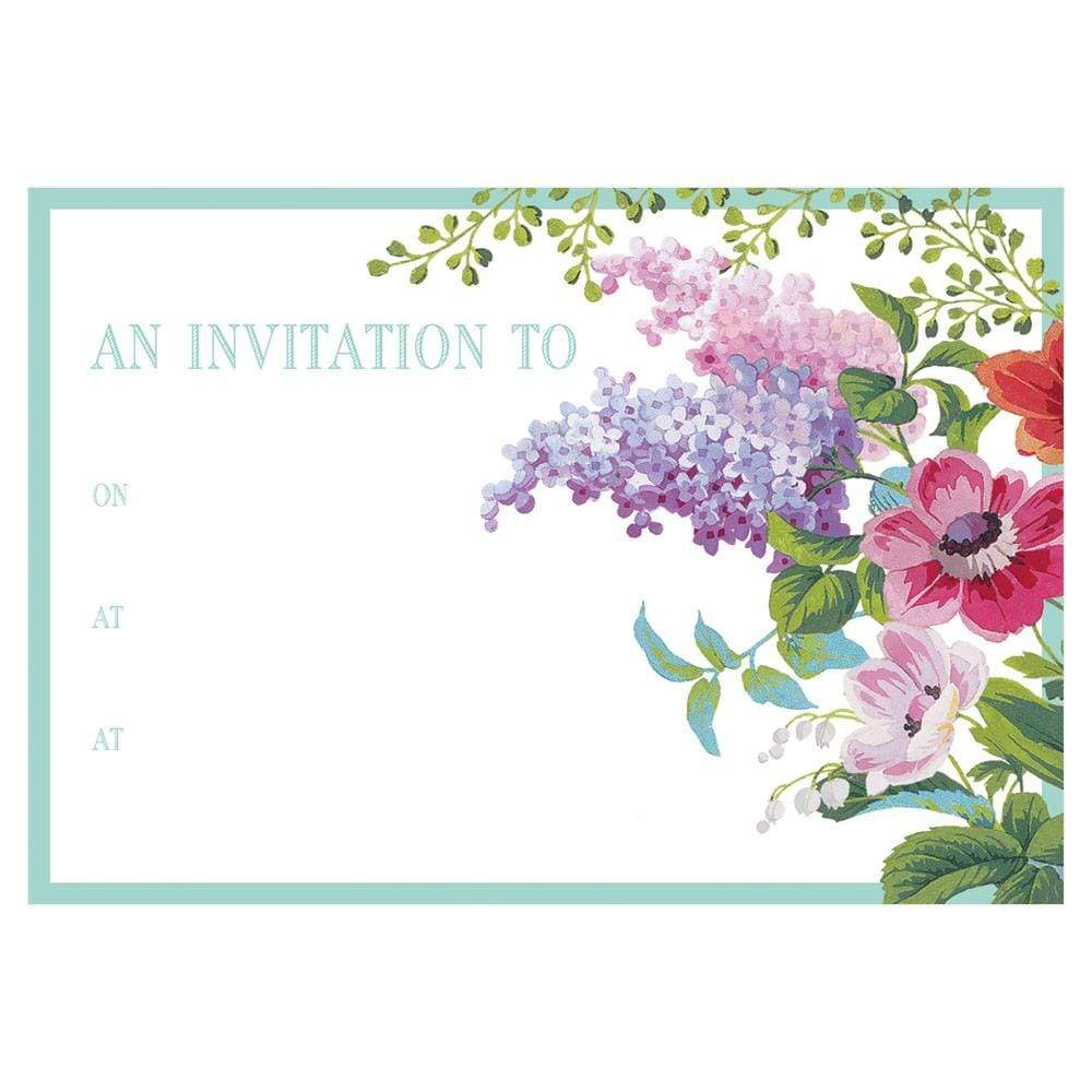 Caspari Edwardian Garden Invitations - 8 Fill-In Invitations & 8 Envelopes