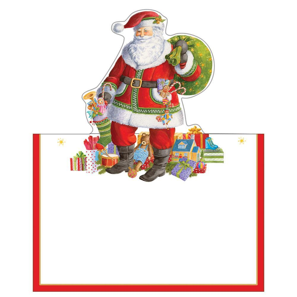 Caspari Santa Claus Lane Die-Cut Place Cards - 8 Per Package