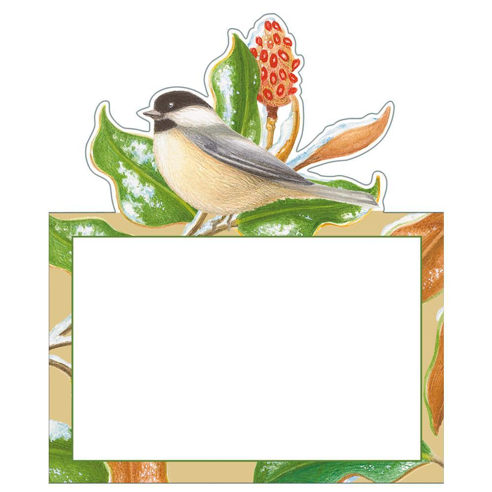 Caspari Chickadee and Magnolia Die-Cut Place Cards - 8 Per Package
