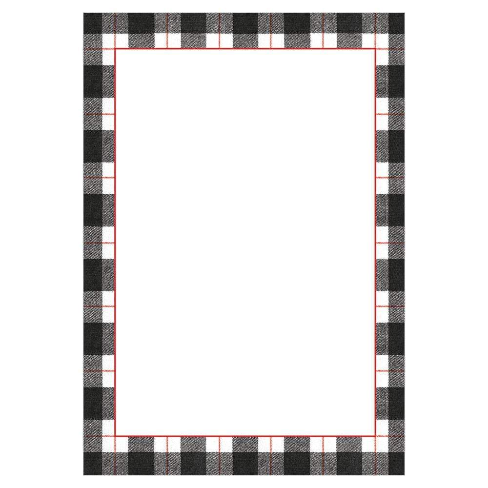 Caspari Plaid Check Invitations in Black - 8 Blank Invitations & 8 Envelopes