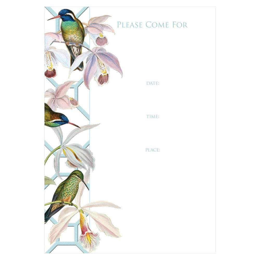 Caspari Hummingbird Trellis Invitations - 8 Fill-In Invitations & 8 Envelopes