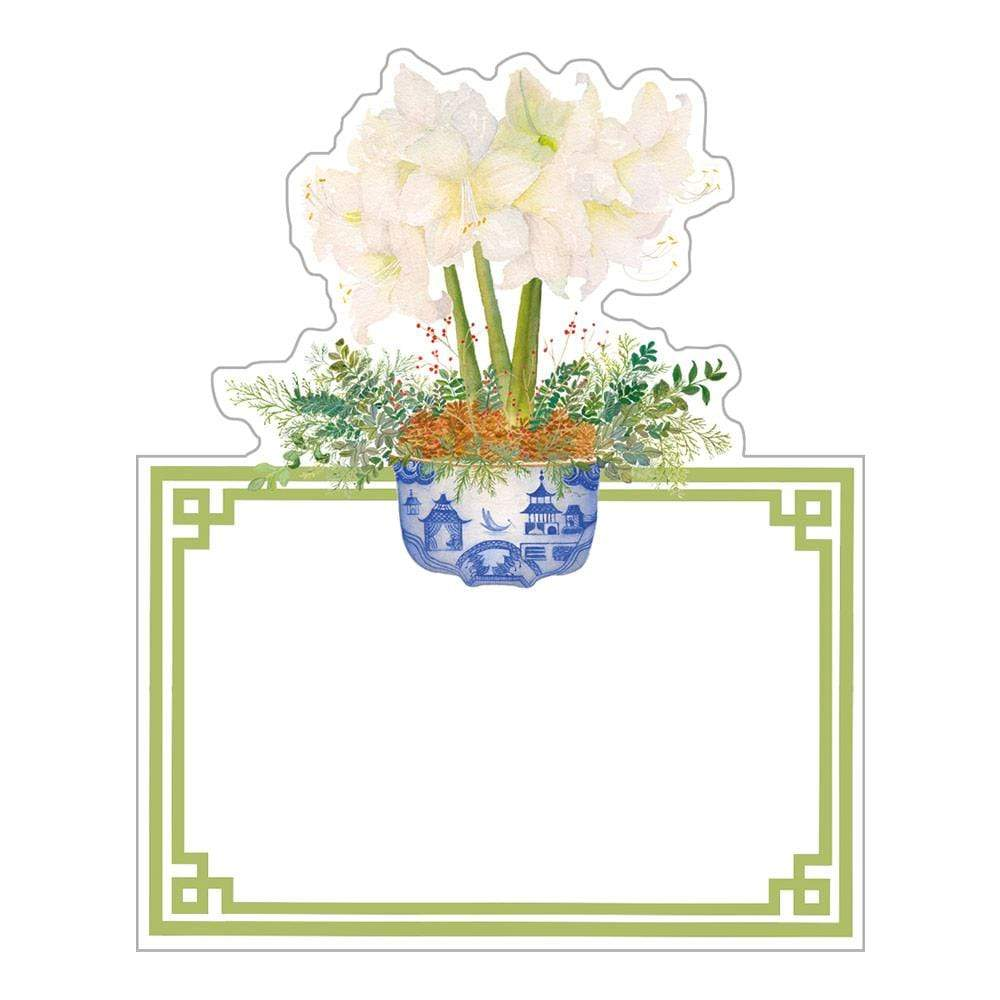 Caspari Potted Amaryllis Die-Cut Place Cards - 8 Per Package