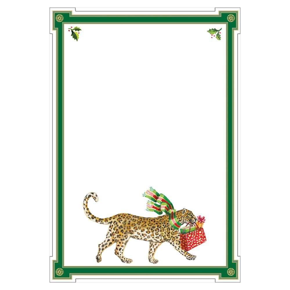 Caspari Christmas Leopards Invitations - 8 Blank Invitations & 8 Envelopes