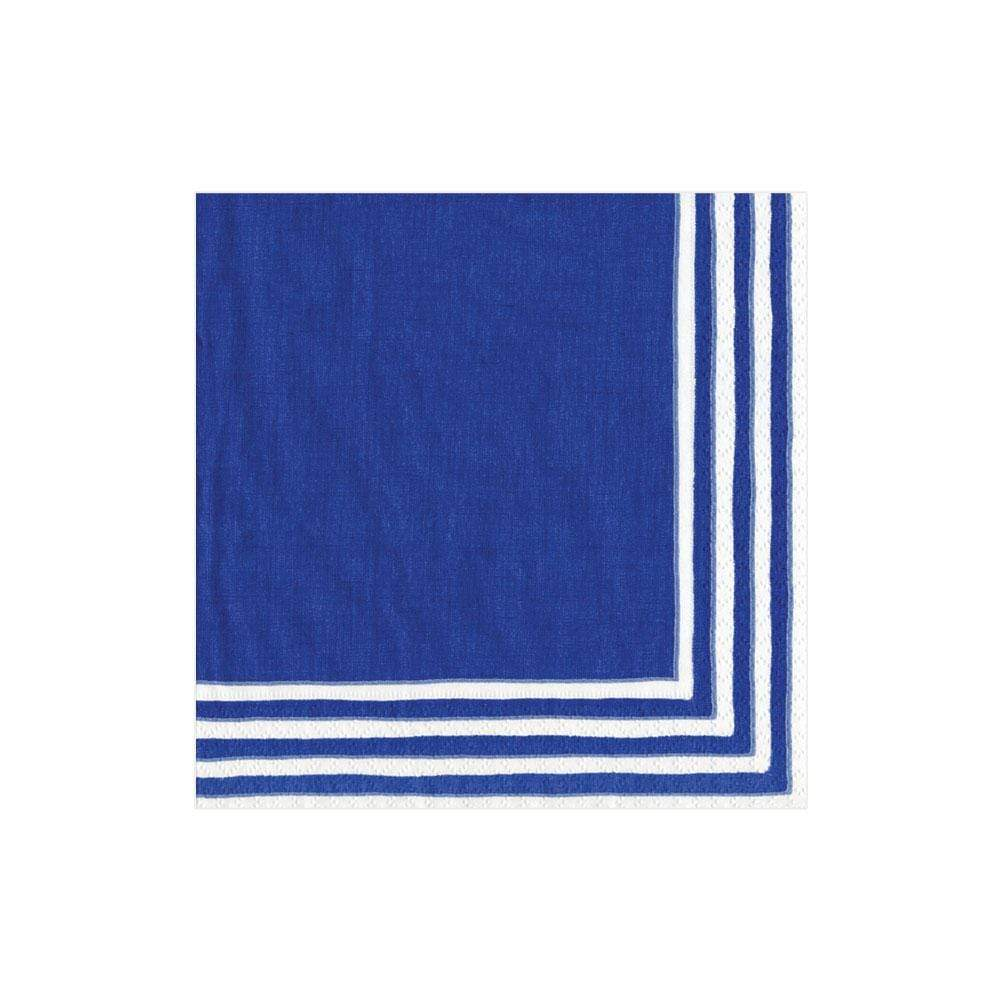 Caspari Border Stripe Paper Cocktail Napkins in Blue - 20 Per Package