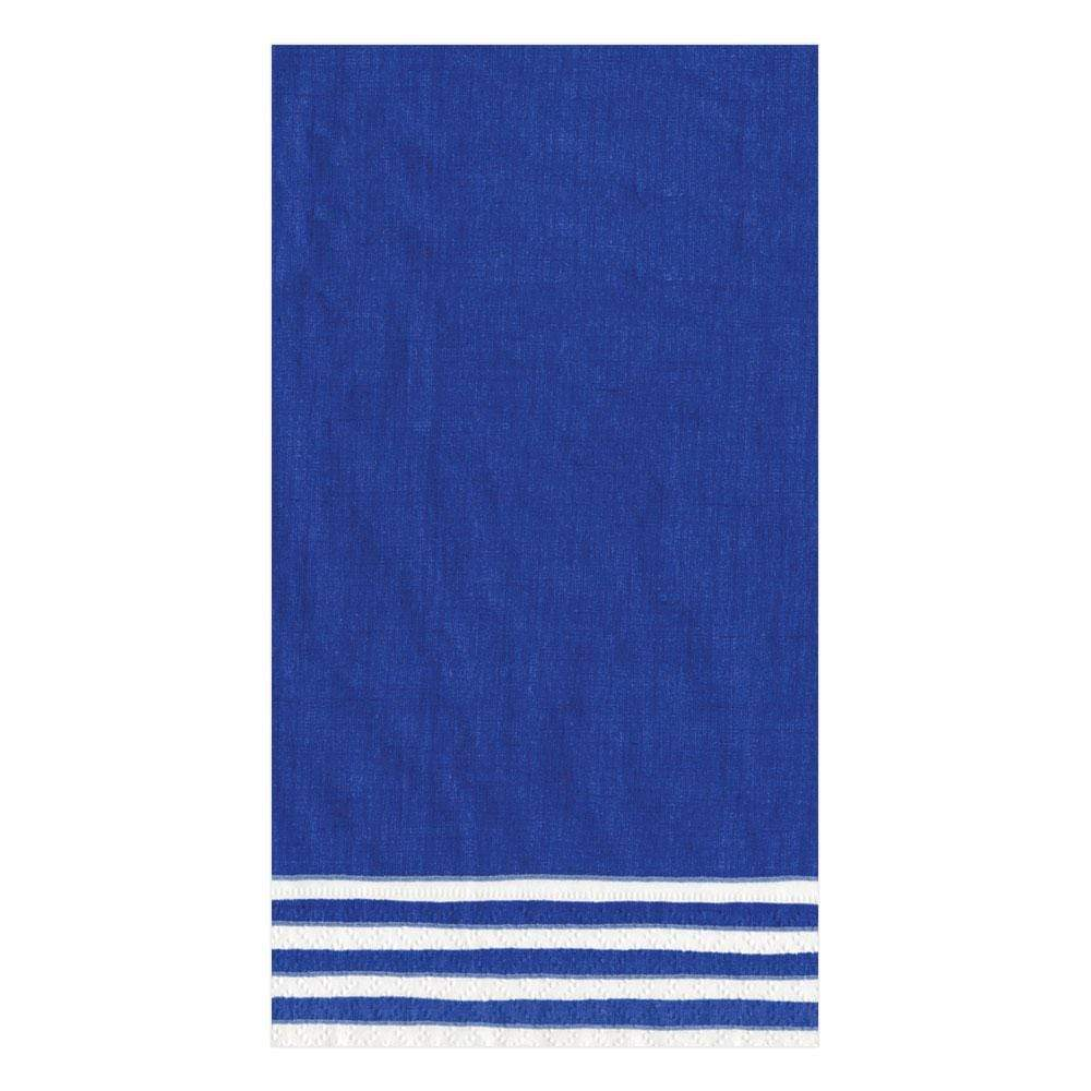 Caspari Border Stripe Paper Guest Towel Napkins in Blue - 15 Per Package
