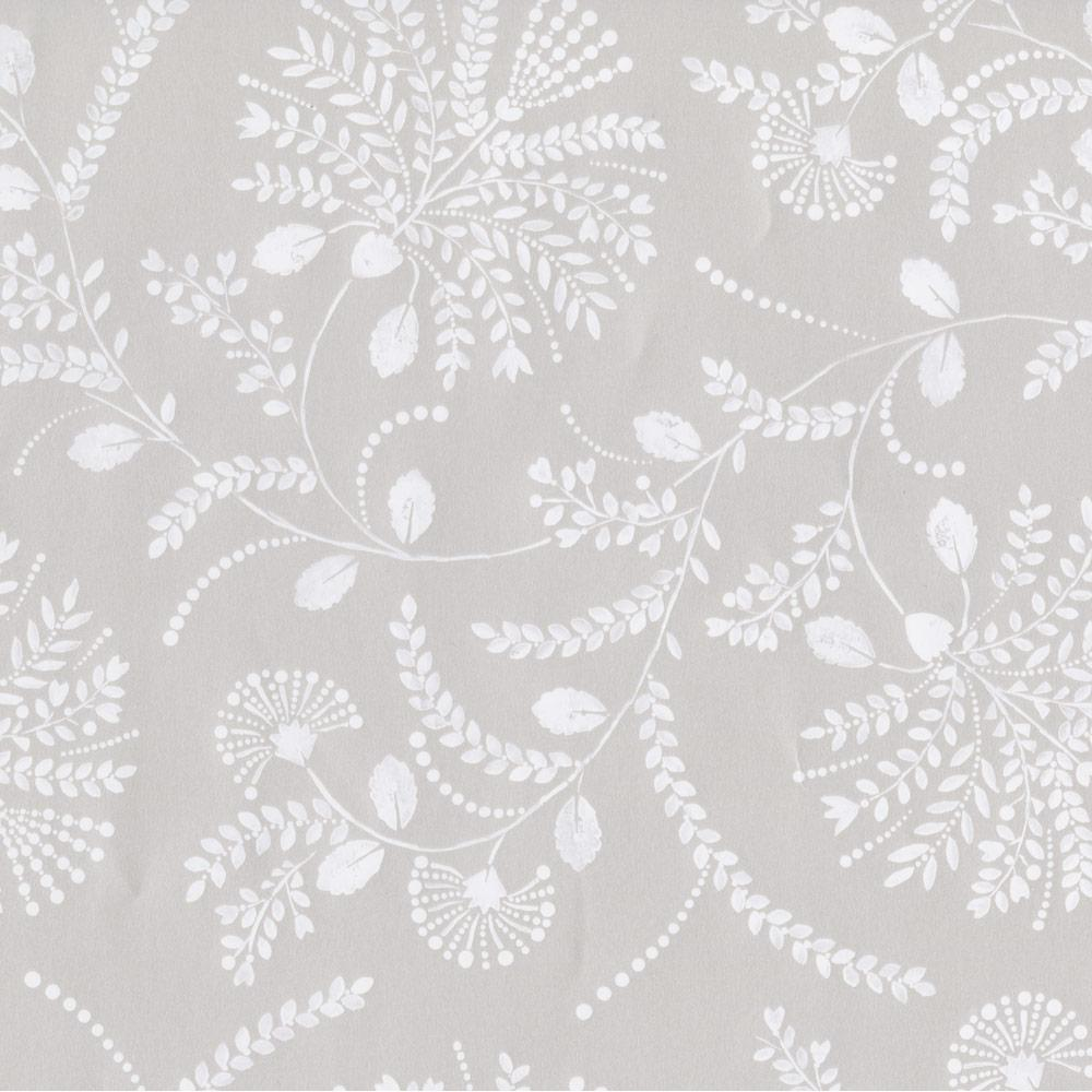 Trailing Floral Gift Wrap Roll in Platinum Pearlized Paper - One 30