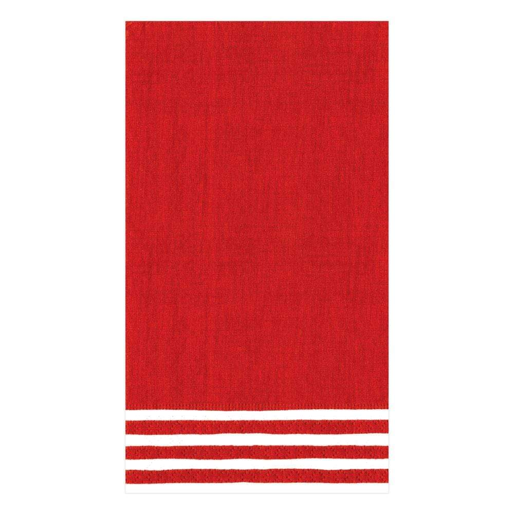 Caspari Border Stripe Paper Guest Towel Napkins in Red - 15 Per Package